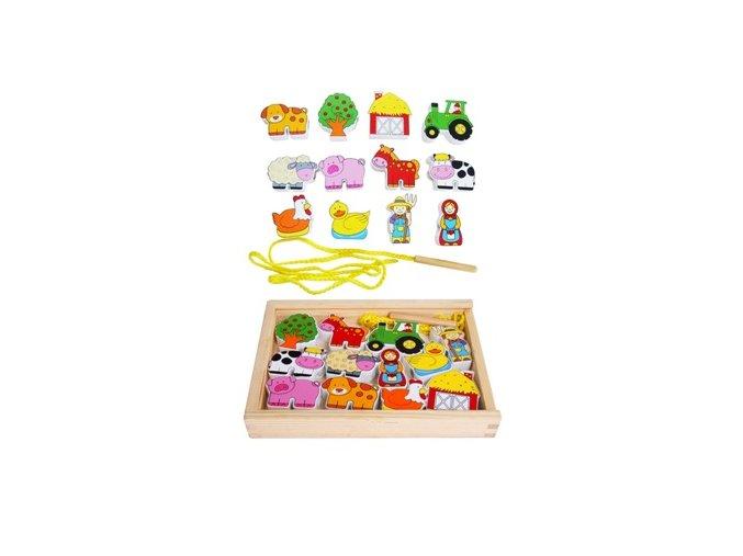 Lacing Blocks Set - provlékací hra farma