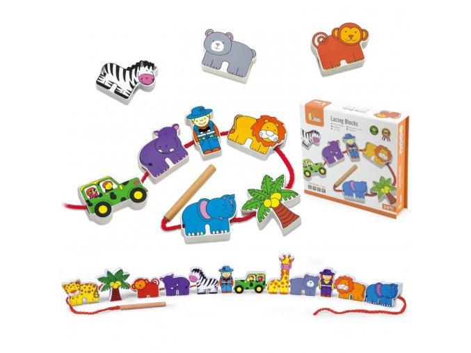 Lacing Blocks Set - provlékací hra safari