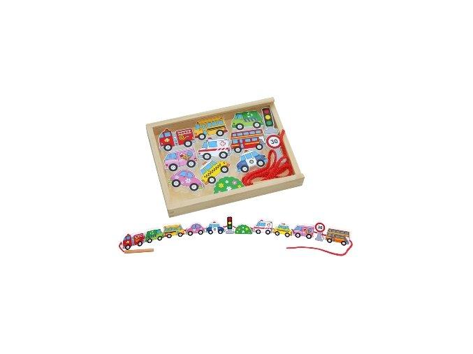 Lacing Blocks Set - provlékací hra auta
