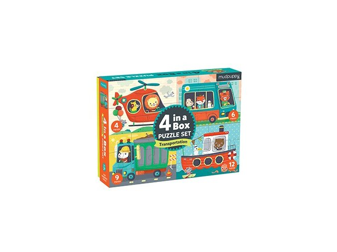 Puzzle 4 v 1 - Přeprava / Puzzle Set 4 in a Box - Transportation
