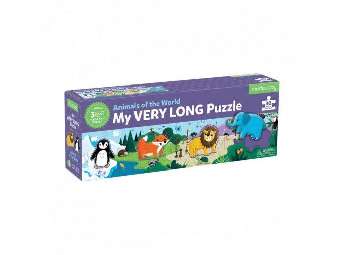 Dlouhé puzzle zvířata - 30 ks / My very Long Puzzle Animals of the world