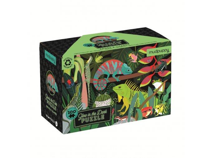 Glow in Dark Puzzle - Žáby a ještěrky (100 dílků) / Frogs & Lizards