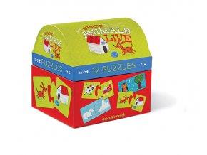 Puzzle truhlička - Kde zvířata žijí