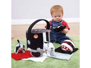 10571 black and white soft baby toys in basket