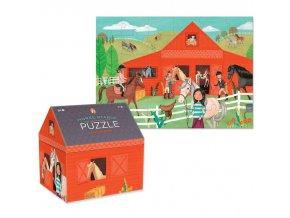 Puzzle truhlička - koňská stáj