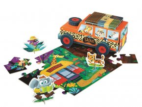 Hraj si a poskládej puzzle - Safari jeep