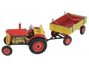 Traktor s valníkem - červený