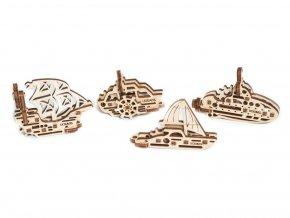Dřevěné 3D mechanické puzzle U-fidget lodě