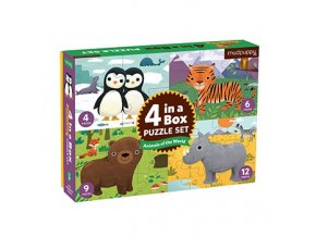 Puzzle 4 v 1- Zvířátka světa /Puzzle 4 in a box Animals of the World