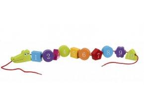 Krokodýl- navlékání čísel / Crocodile Threading Toy