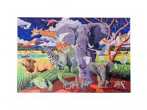Puzzle a plakát - Divoké safari (100 dílků)