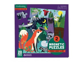 Magnetické puzzle - Les ve dne i v noci / Magnetic Fun - Forest Night & Day