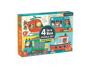 Puzzle 4 v 1 přeprava /Puzzle Set 4 in a Box - Transportation