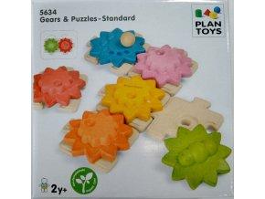 Plan Toys - Ozubená kola a puzzle standart