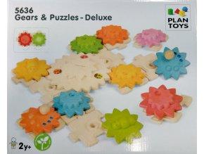 Plan Toys - Ozubená kola a puzzle - Deluxe