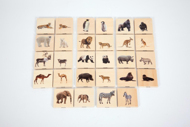 TickiT Dřevěné pexeso - Divoká zvířata (28 ks) / Wild animal family match (28 pc)