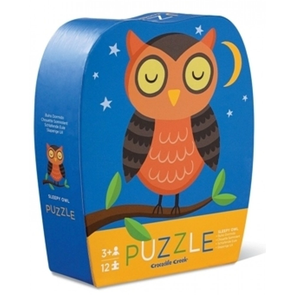 Crocodile Creek Mini Puzzle – Spící sova (12 ks) / Mini Puzzle – Sleepy Owl (12 pc)