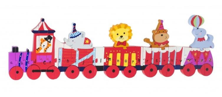 Levně Orange Tree Toys Cirkusový vlak- puzzle s abecedou