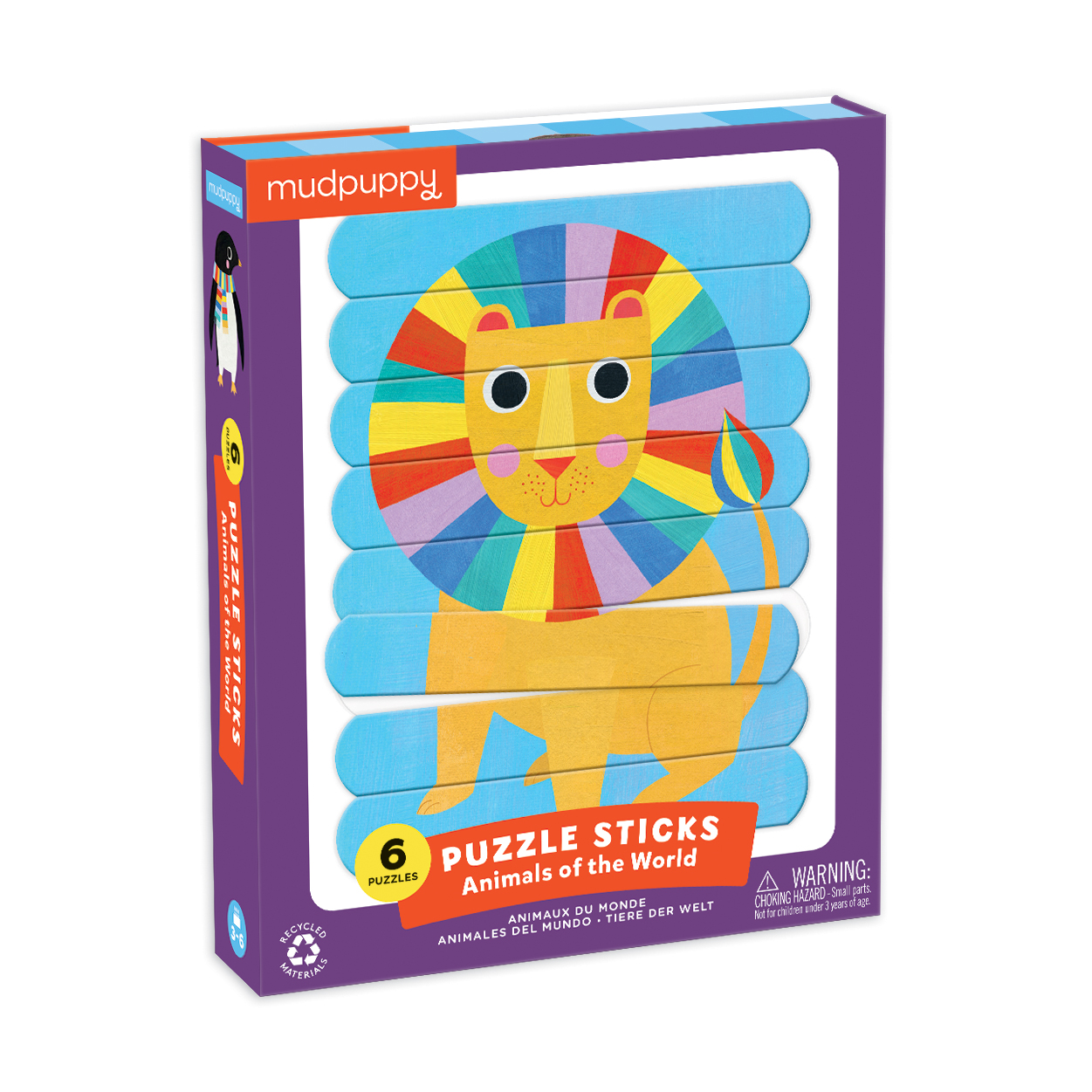 Mudpuppy Puzzle Sticks - Zvieratá sveta (24 ks) / Puzzle Sticks Animals of the World (24 pc)