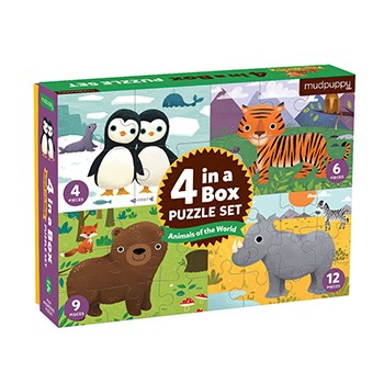 Mudpuppy Puzzle 4 v 1- Zvieratká sveta /Puzzle 4 in a box Animals of the World