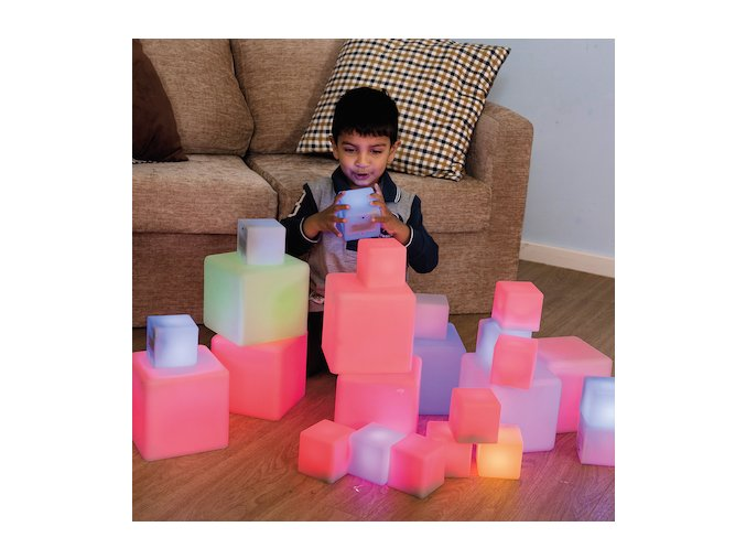 Sensory ICT Glow Construction Blocks Cubes 12pk