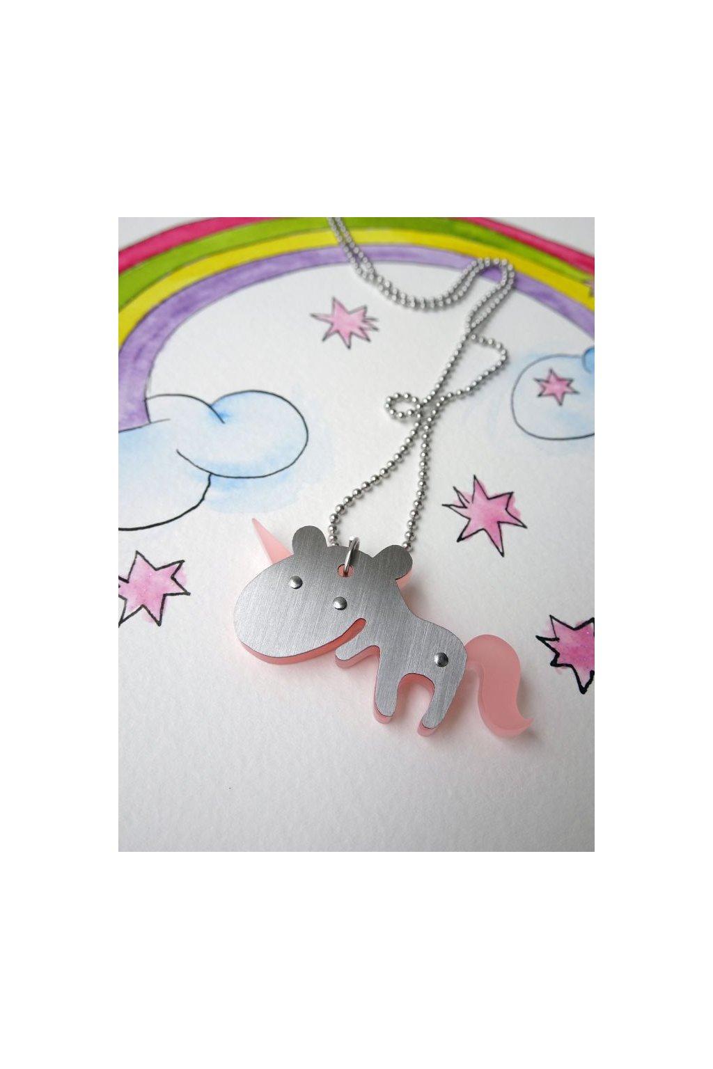 kigu náhrdelník jednorožec světle růžový 1