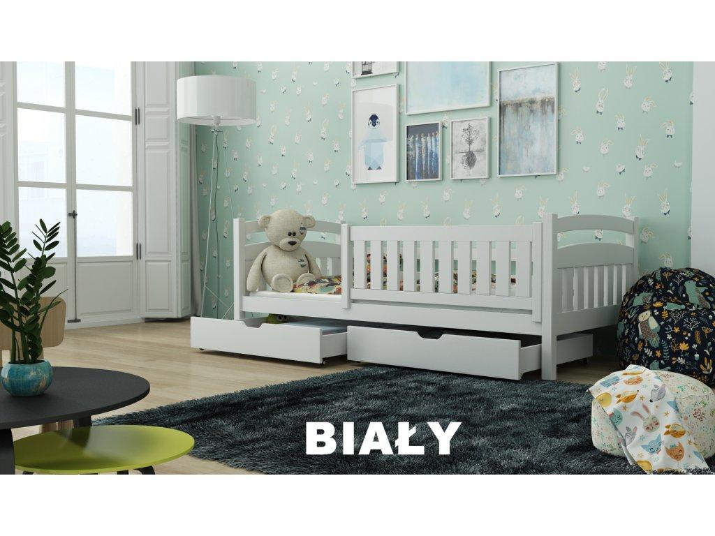 Dřevěná postel Terry190x90 cm s úložným prostorem masiv BÍLÁ