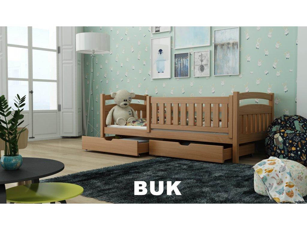 Dřevěná postel Terry190x90 cm s úložným prostorem odstín buk