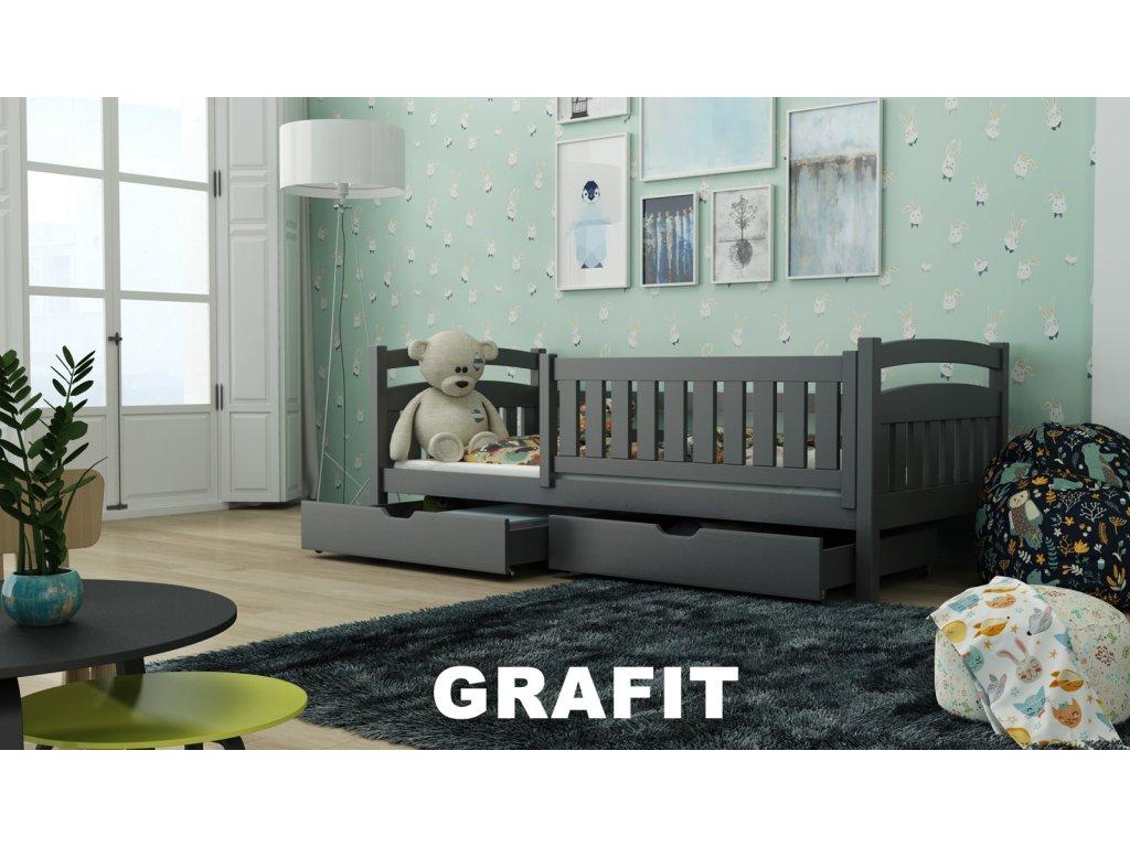 Dřevěná postel Terry190x90 cm s úložným prostorem odstín grafit