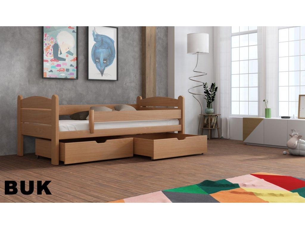Dřevěná postel s úložným prostorem Matěj 90x190 cm masiv-odstín buk