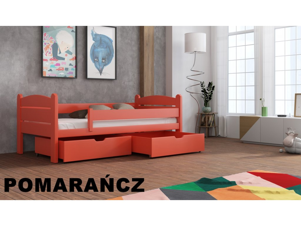 Dřevěná postel s úložným prostorem Matěj 90x190 cm masiv-odstín pomeranč