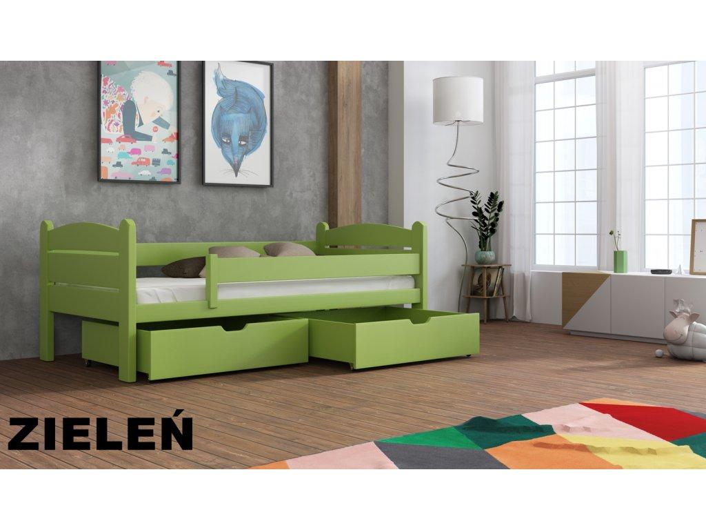 Dřevěná postel s úložným prostorem Matěj 90x190 cm masiv-odstín zelený