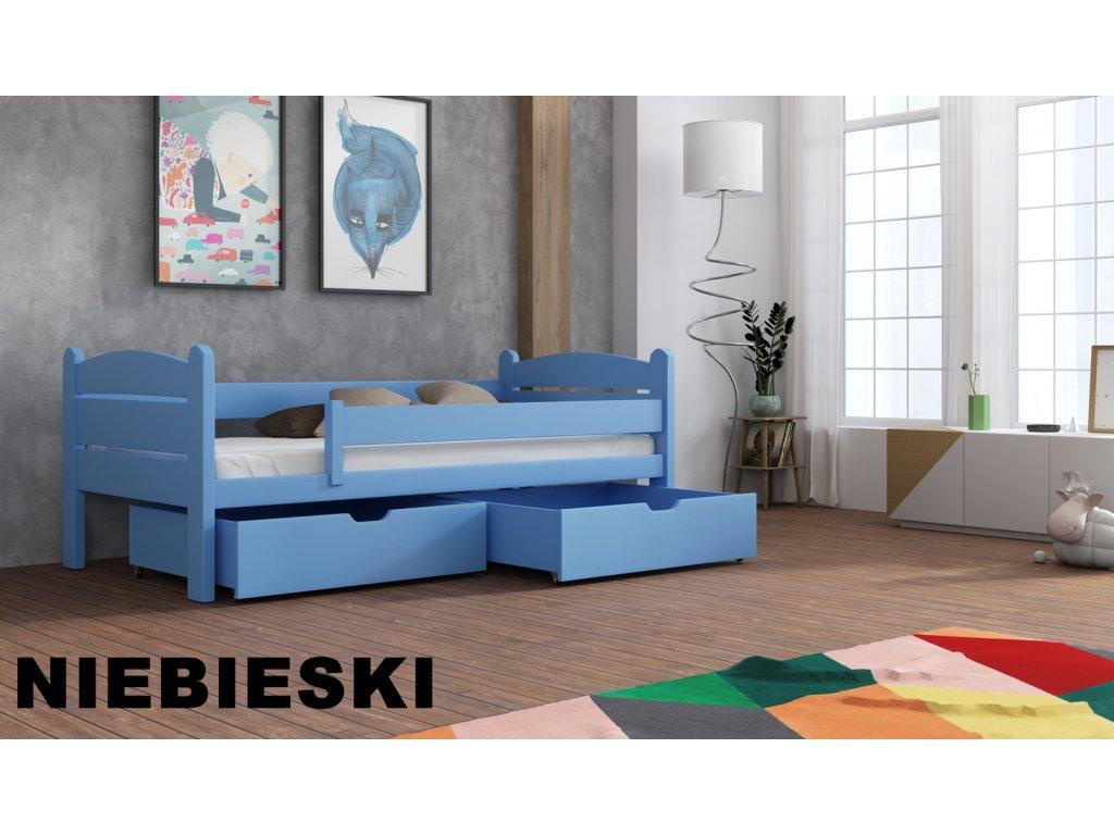 Dřevěná postel s úložným prostorem Matěj 90x190 cm masiv-odstín modrá