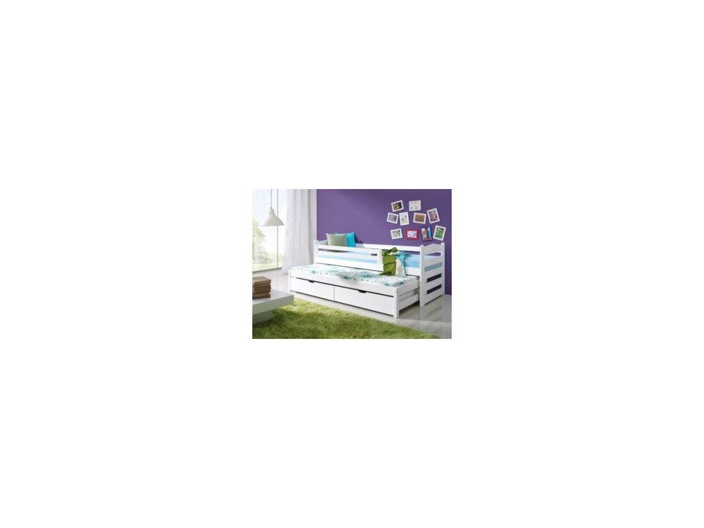 Dřevěná postel TOSIA 190X90cm s přistýlkou a úložným prostorem masiv BÍLÁ