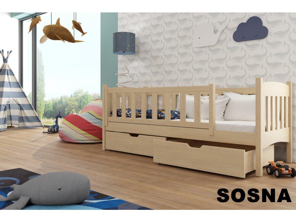 Dřevěná postel GUCIO 180X80cm s úložným prostorem borovice masiv