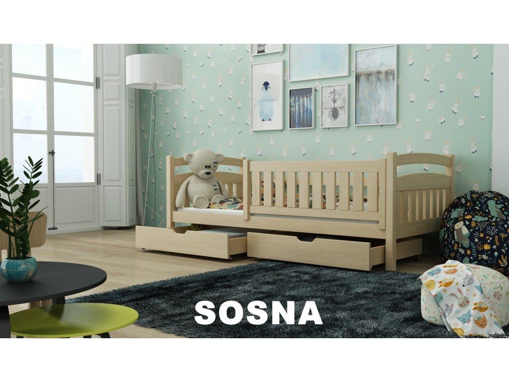 Dřevěná postel s úložným prostorem Terry 80x180 cm lakovaná