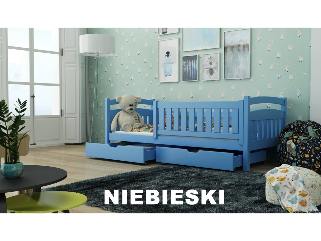 Dřevěná postel s úložným prostorem Terry 80x180 cm odstín modrá