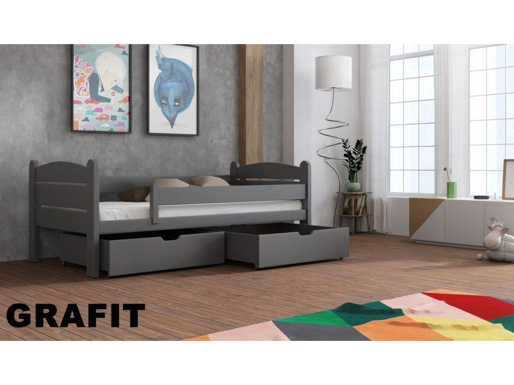 Masivní dřevěná postel s úložným prostorem Matěj 80x180 cm odstín grafit