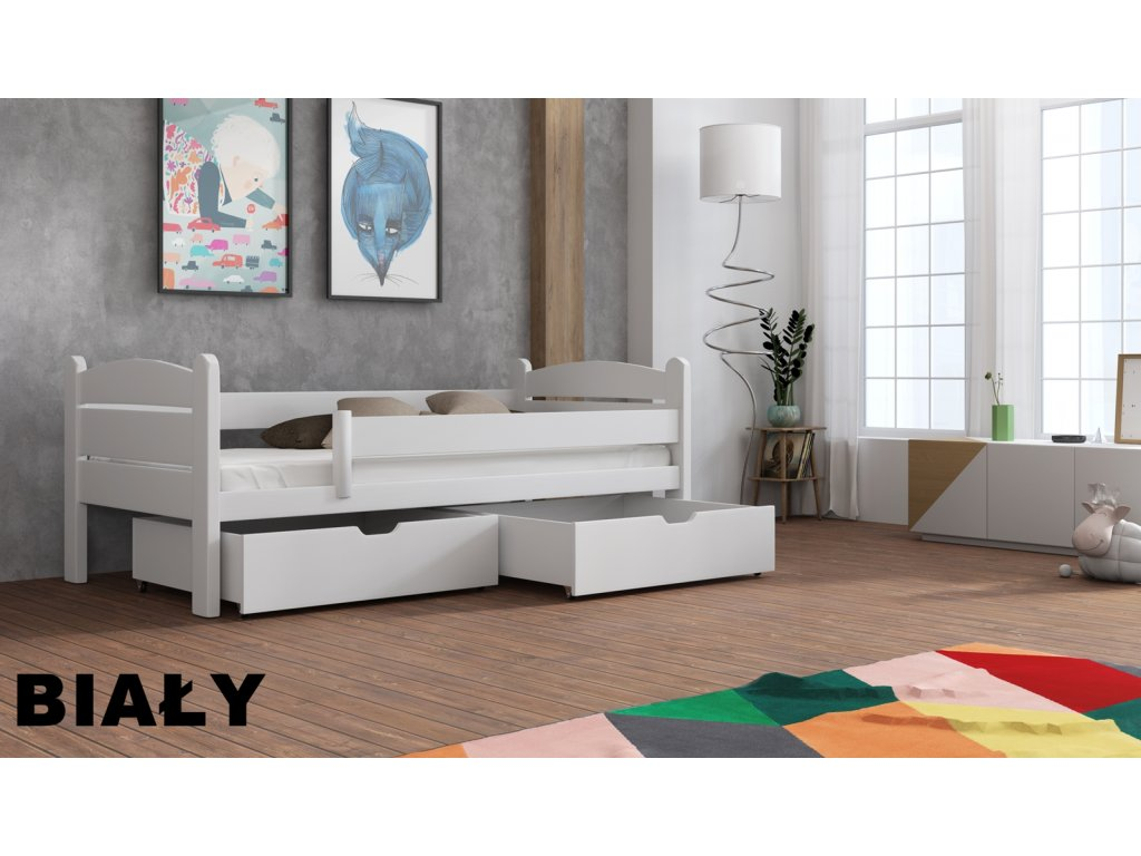 Masivní dřevěná postel s úložným prostorem Matěj 80x180 cm odstín bílá
