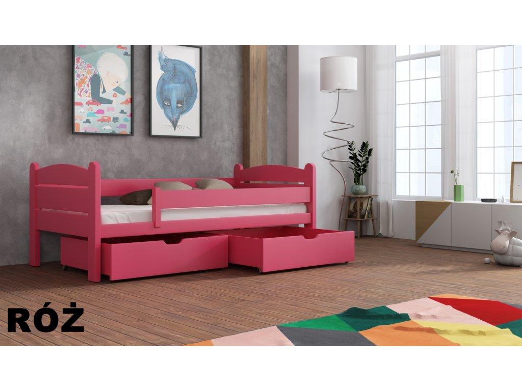 Masivní dřevěná postel s úložným prostorem Matěj 80x180 cm odstín růžová