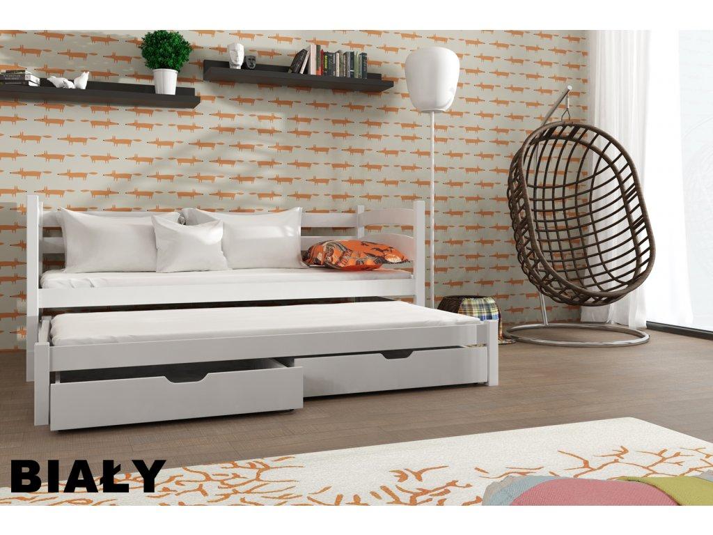 Dřevěná postel TOSIA 180X80 s přistýlkou a úložným prostorem masiv BÍLÁ
