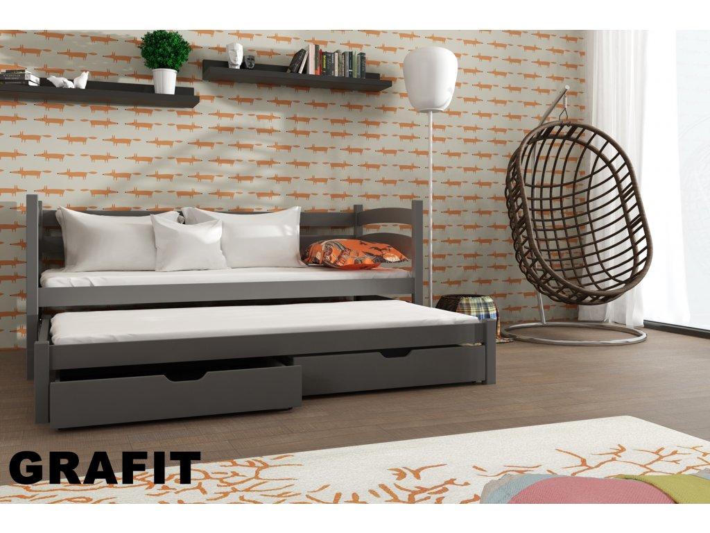 Dřevěná postel TOSIA 180X80 s přistýlkou a úložným prostorem masiv GRAFIT