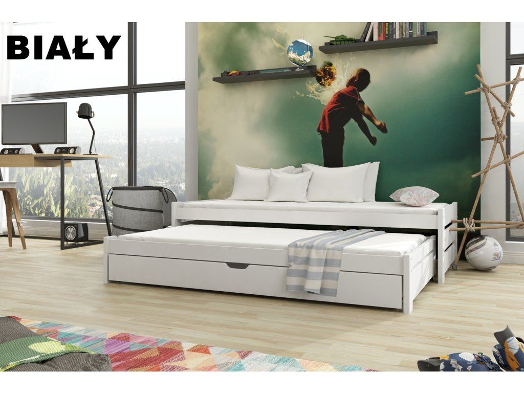 Dřevěná postel ANDREAS 180X80cm s přistýlkou a úložným prostorem borovice masiv BÍLÁ