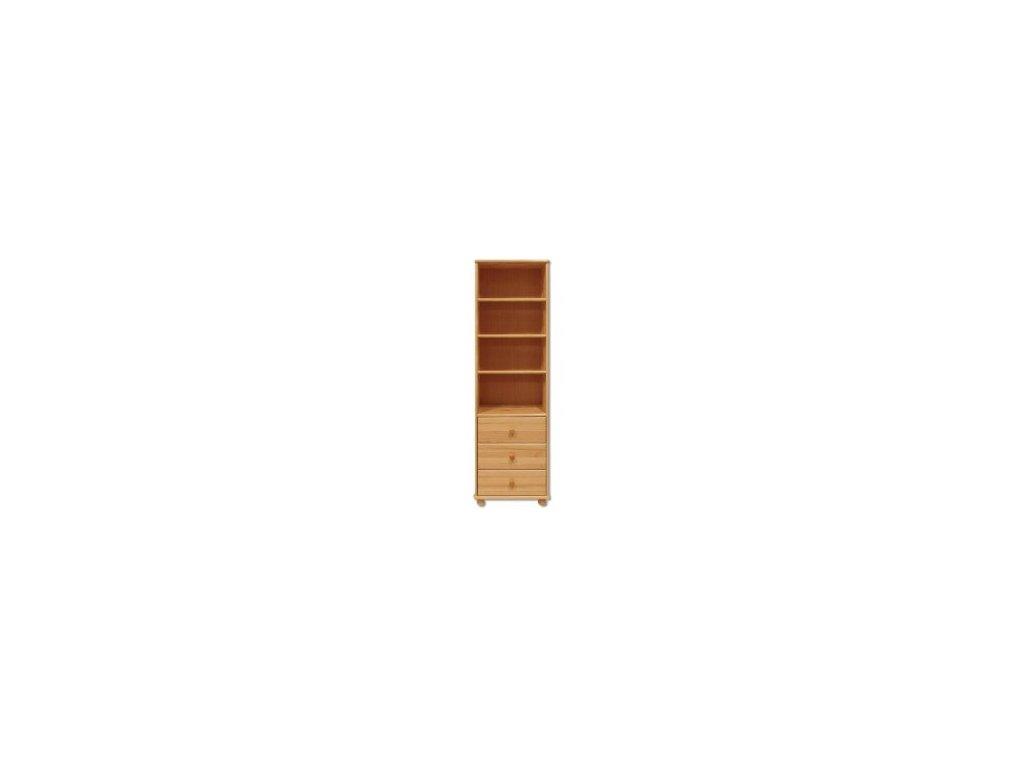Policová vitrína + 3 šuplíky borovice masiv KIK 128