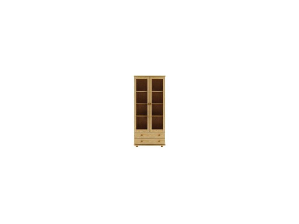 Prosklená vitrína  se 2 šuplíky KIK 115 borovice masiv