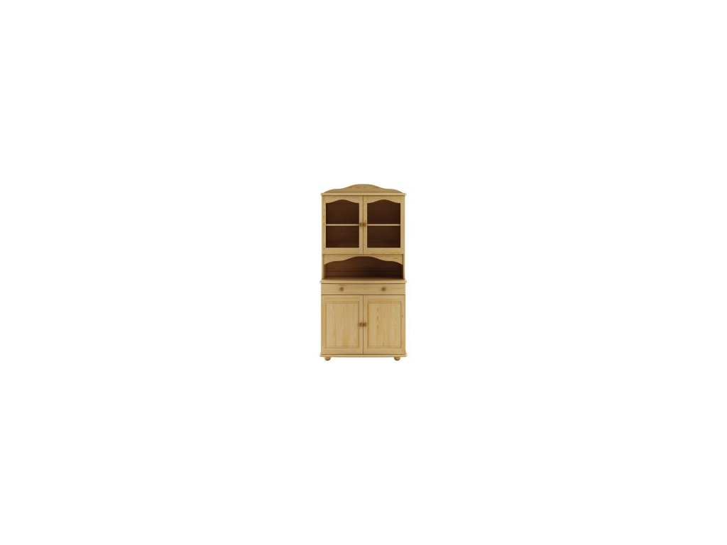 Dřevěná vitrína-kredenc KIK 102 borovice masiv