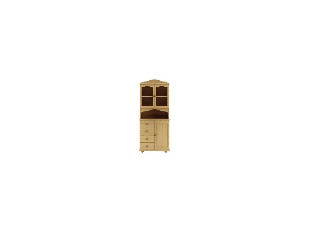 Masivní dřevěná vitrína KIK 104 borovice masiv