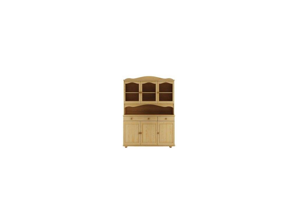 Dřevěná stylová vitrína borovice masiv KIK 101