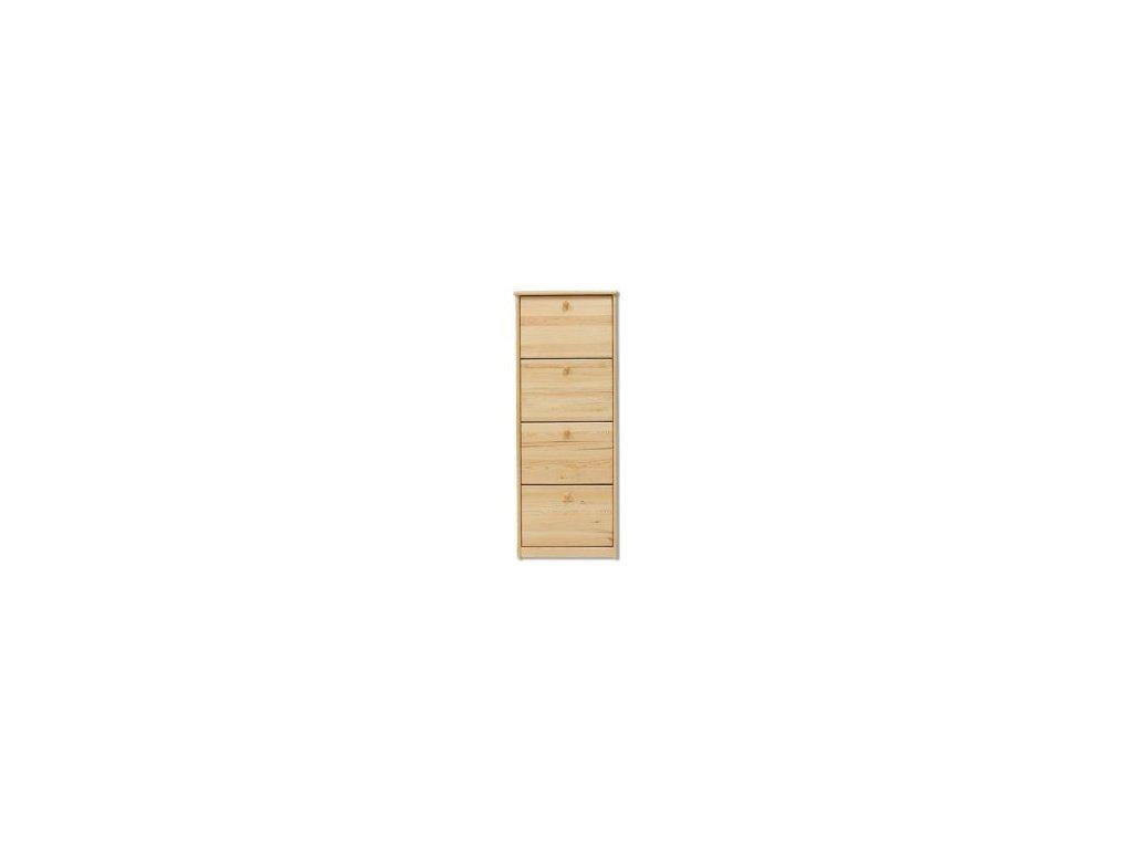 Dřevěný  výklopný botník  KIK 111 úzký borovice masiv - 4 řady