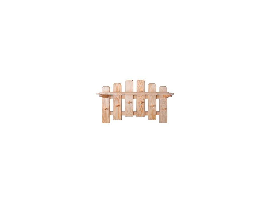 Dřevěný věšák s policí  KIK 131 borovice masiv